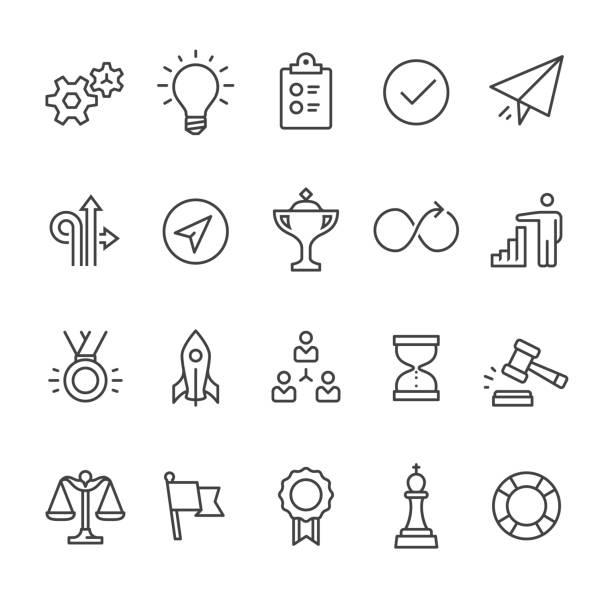 Vetor ícones de produtividade contorno - ilustração de arte vetorial