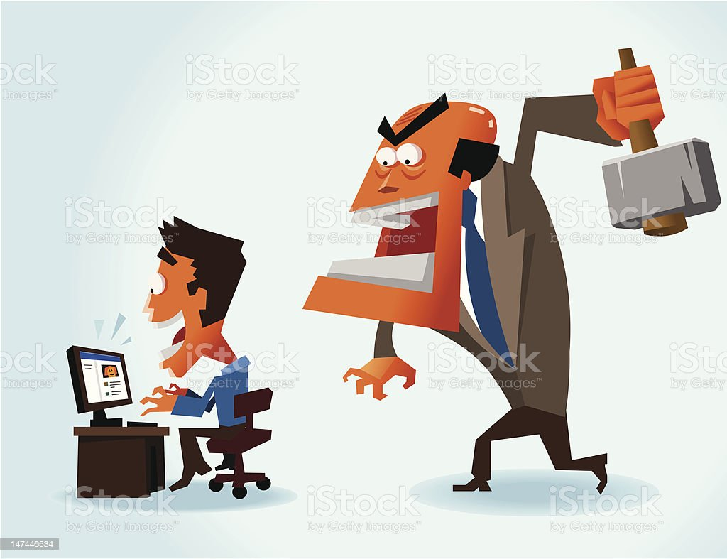 Productivity problem in office royalty-free stock vector art