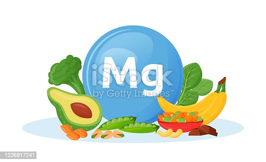 istock Products containing magnesium cartoon vector illustration 1226917241