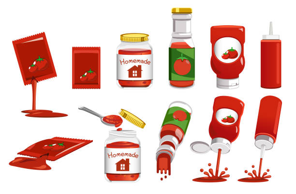 Products package from Tomato. Products package from Tomato and Using it. ketchup stock illustrations