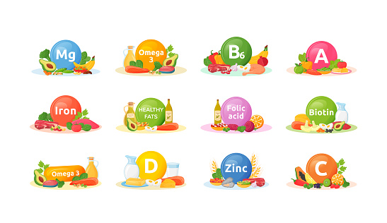 Products rich of vitamins, minerals for health cartoon vector illustrations set