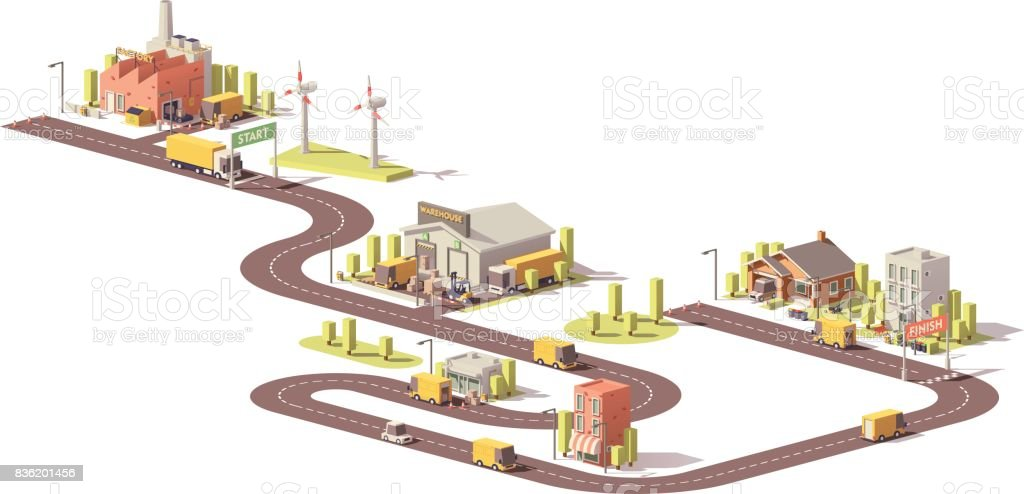 Products supply chain from factory to customers vector art illustration