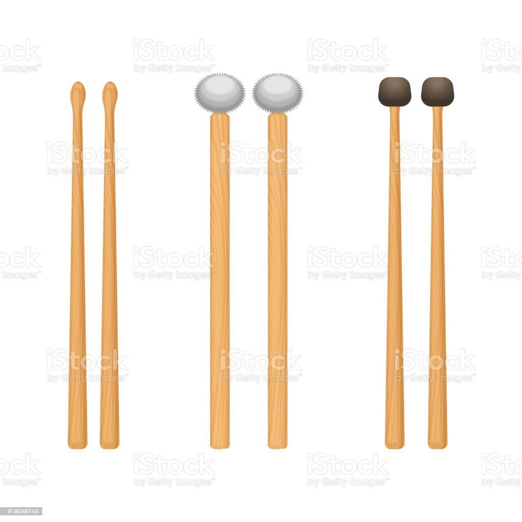 Profesional tambour en bois bâtons avec des extrémités arrondies ensemble - Illustration vectorielle