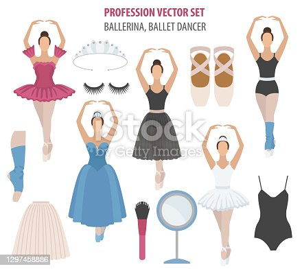 istock Profession and occupation set. Ballerina equipment flat design icon. Different suits of ballet dancer. 1297458886