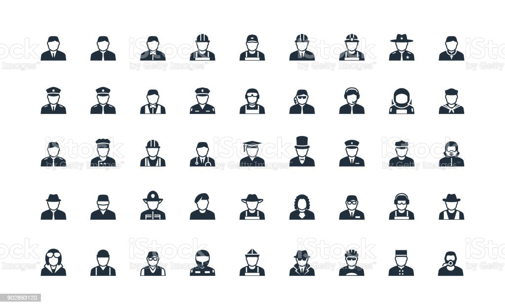 Profession and work avatars vector icon set vector art illustration