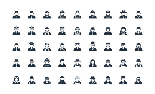 stockillustraties, clipart, cartoons en iconen met beroep en werk avatars vector icon set - chauffeur beroep