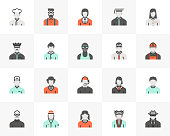 Flat line icons set of profession avatars, human resource employee. Unique color flat design pictogram with outline elements. Premium quality vector graphics concept for web, logo, branding, infographics.
