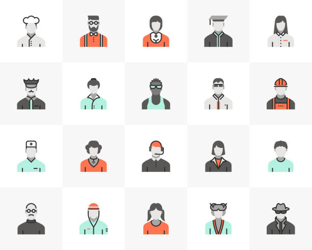 Profession Avatars Futuro Next Icons Pack vector art illustration