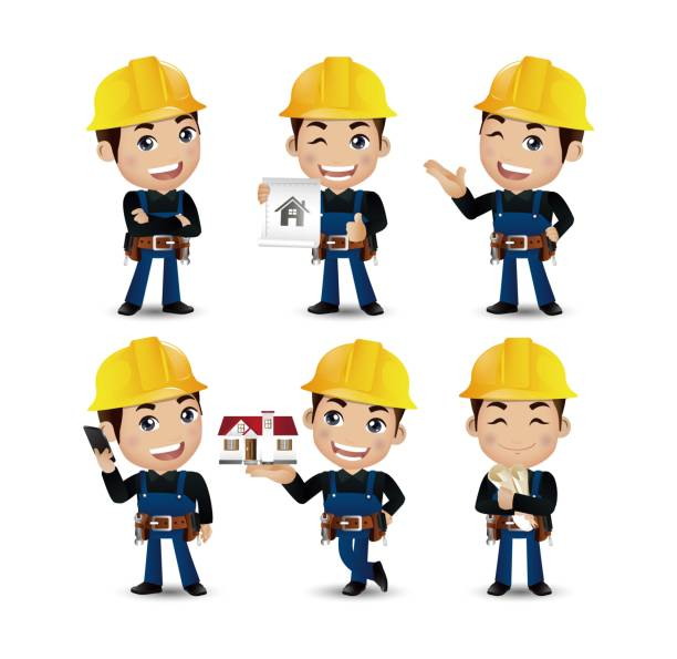 profession - builder. worker. engineer with different poses - construction worker stock illustrations