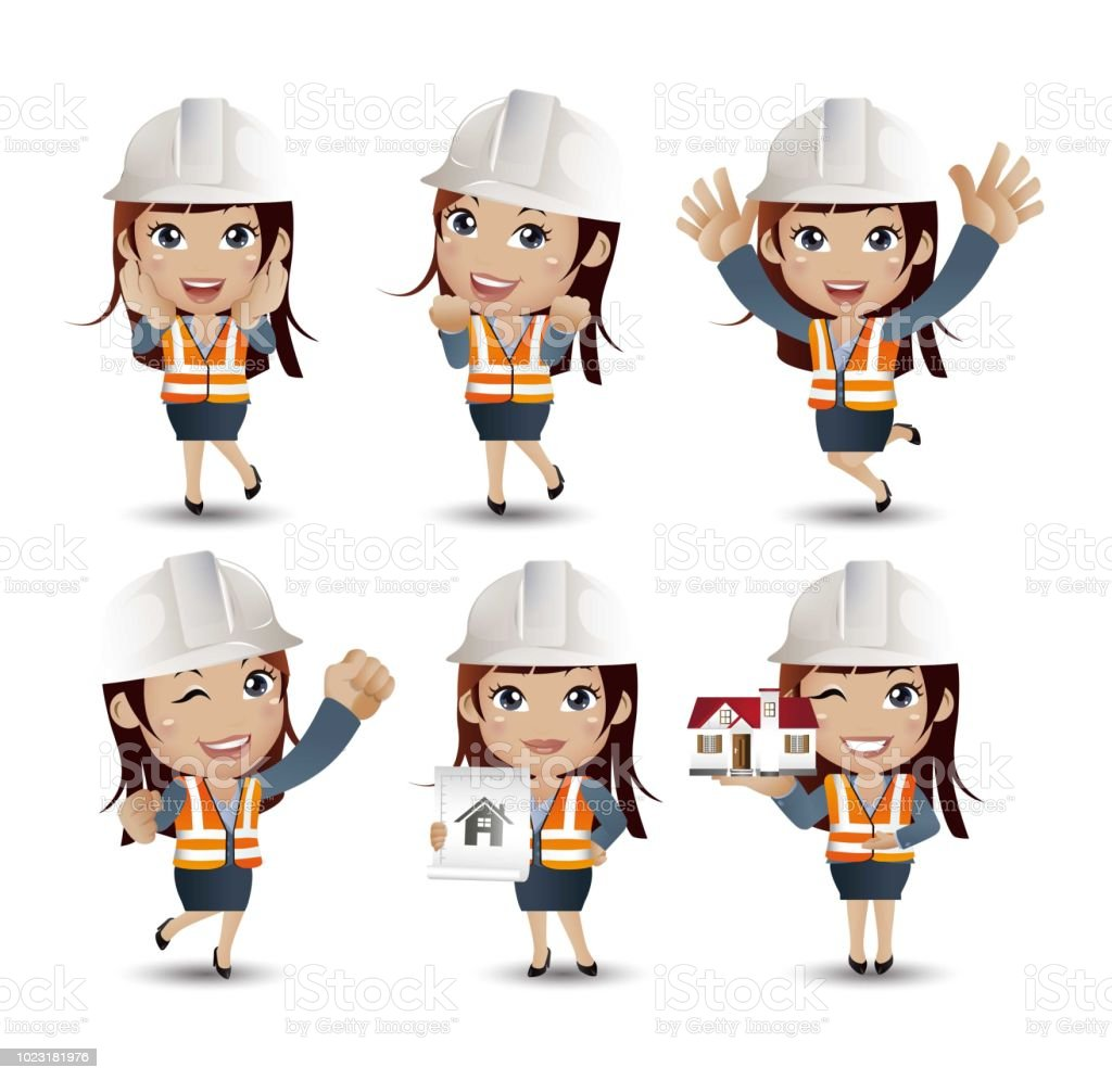 Profession - builder. worker. engineer with different poses vector art illustration