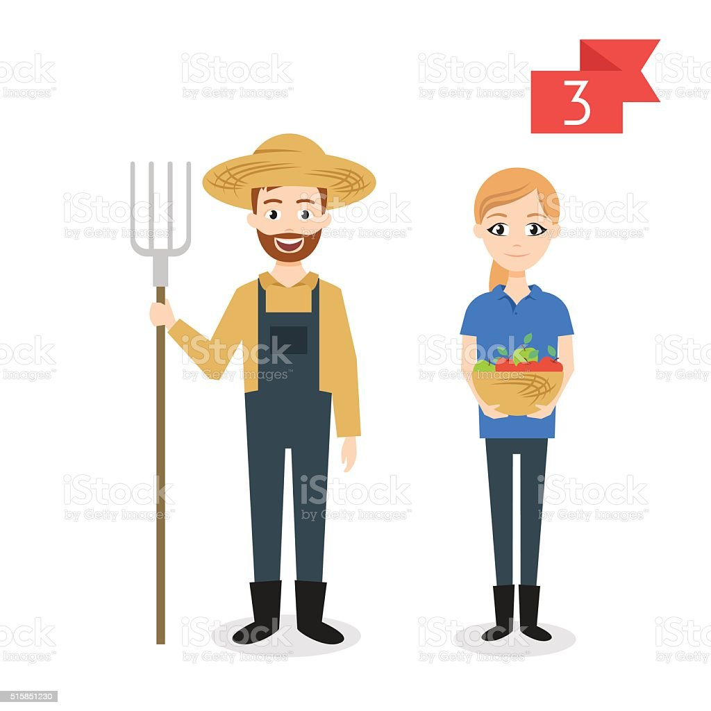 Profession characters: man and woman. Farmer. vector art illustration