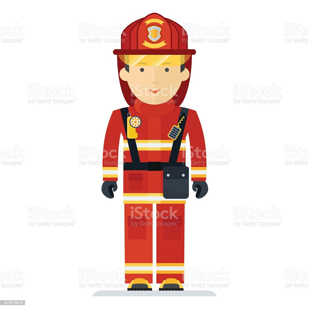Firefighter in protective clothing with the equipment. Characters on...