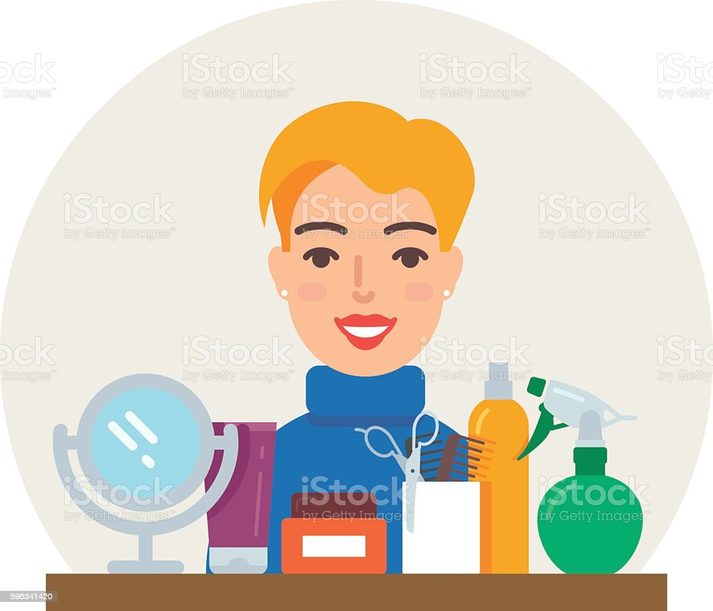 Profession - hairdresser vector illustration, beauty concept flat style royalty-free profession hairdresser vector illustration beauty concept flat style stock vector art & more images of adult