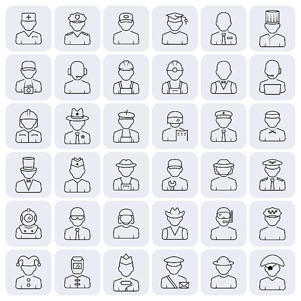 illustrations, cliparts, dessins animés et icônes de profession icon set in thin line style. - polices ligne fine
