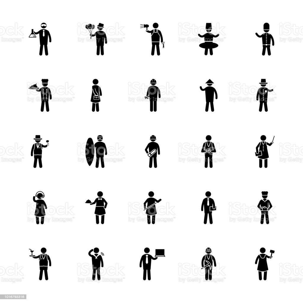 Profession Icons Pack vector art illustration
