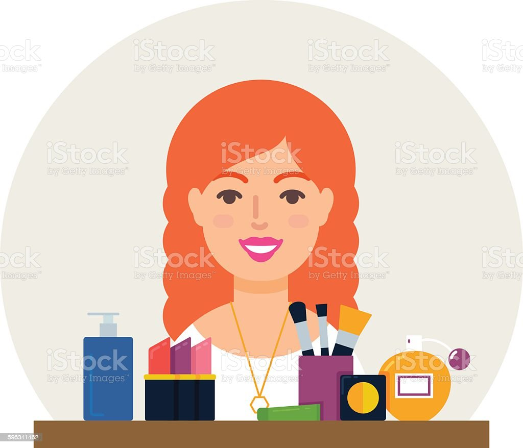 Profession - make-up artist, cosmetologist vector illustration flat style royalty-free profession makeup artist cosmetologist vector illustration flat style stock vector art & more images of adult