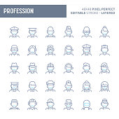 Profession, occupation & employment - simple outline icon set. Editable strokes and Layered (each icon is on its own layer with proper name) to enhance your design workflow.