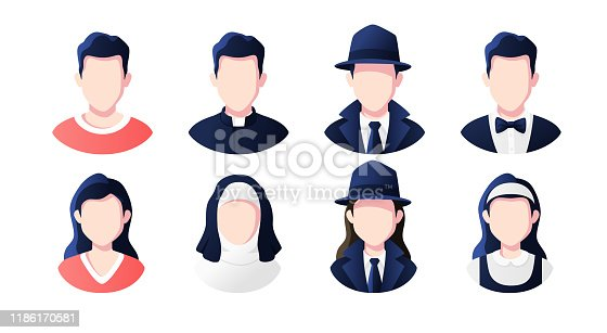 Profession, occupation people avatars set isolated. Priest, nun, detective, maid. Profile picture icons. Male and female faces. Cute cartoon modern simple design. Flat style vector illustration.