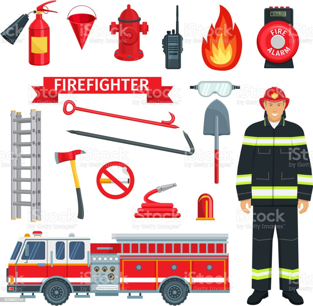 Profession of fireman or firefighter vector tools vector art illustration