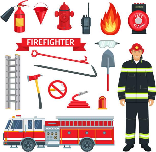 ilustraciones, imágenes clip art, dibujos animados e iconos de stock de profesión de bombero o bombera herramientas de vector - bombero