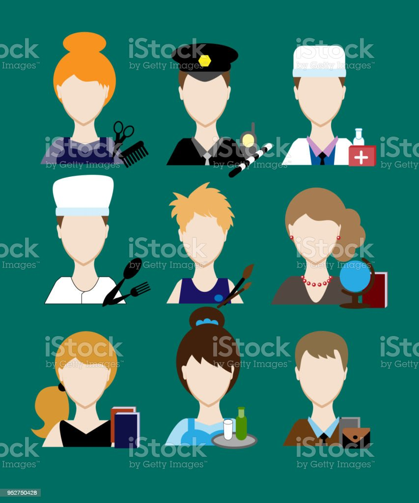 Avatars profession people cop doctor, cook, hairdresser, an artist,...