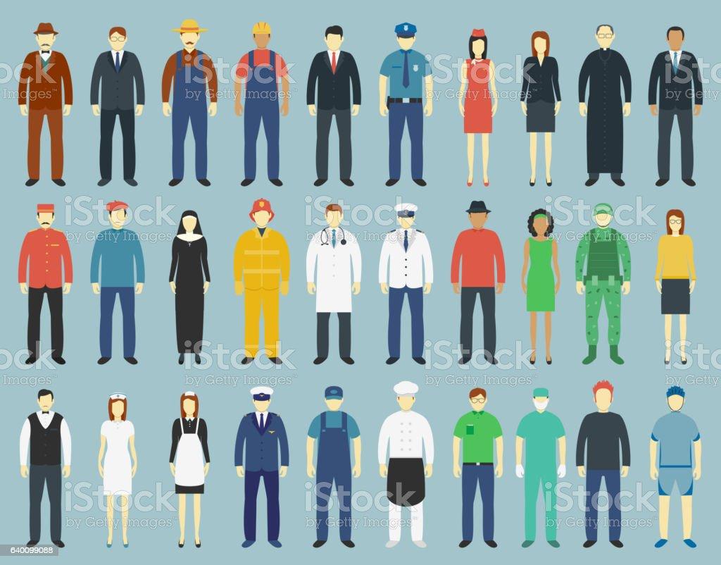 Profession People set. People avatar icons. Vector - Royaltyfri Akademikeryrke vektorgrafik