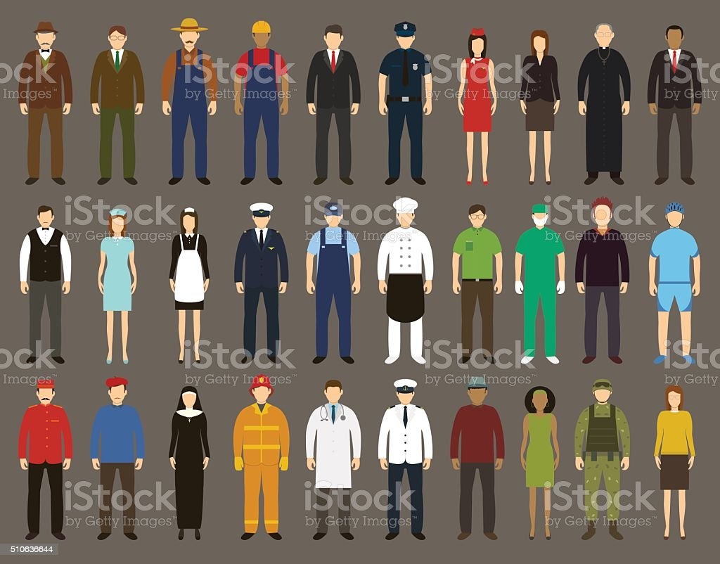 Profession People set. Vector vector art illustration