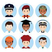 Cartoon avatars of different professions. Vector illustration.