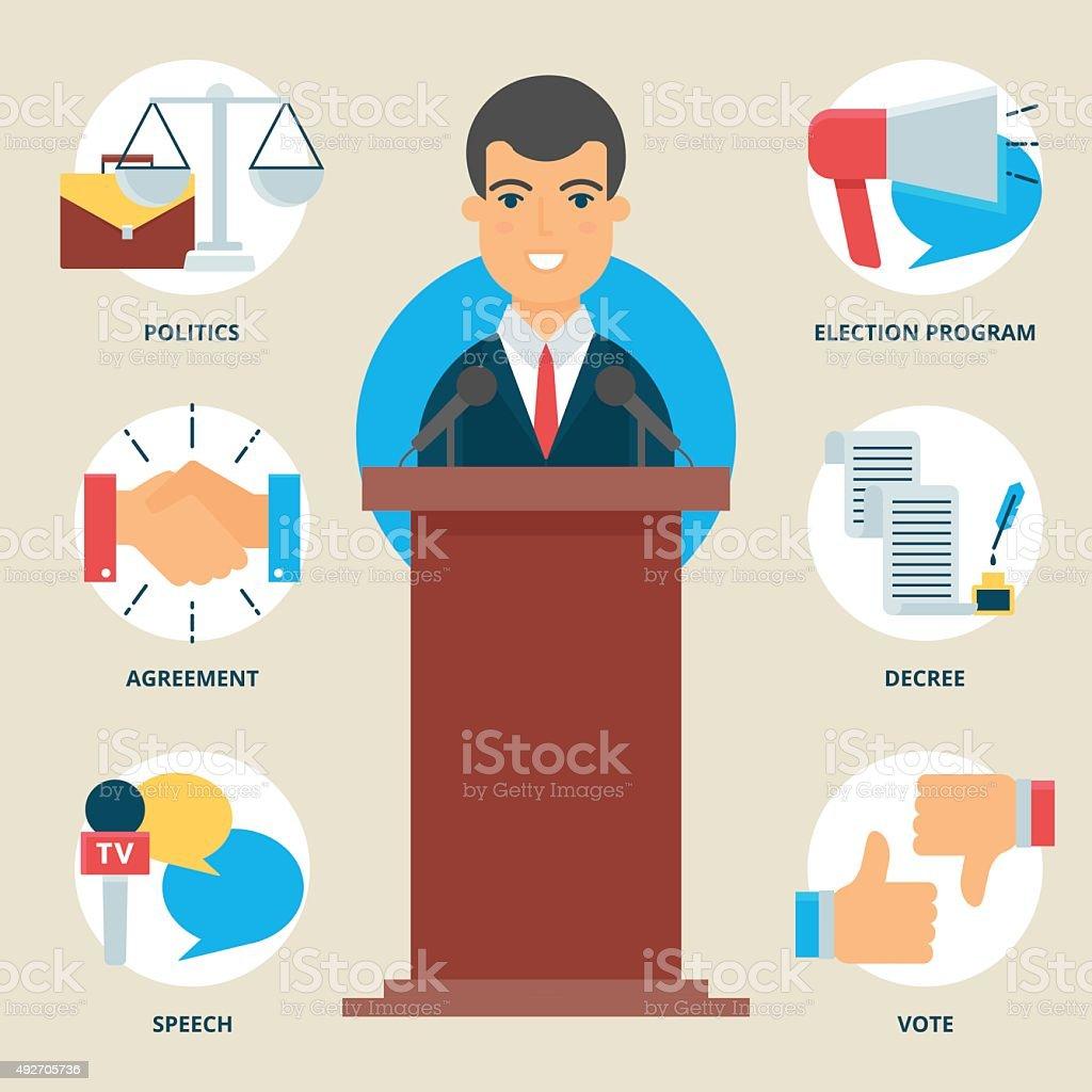 Profession: Politician. Vector illustration, flat style vector art illustration