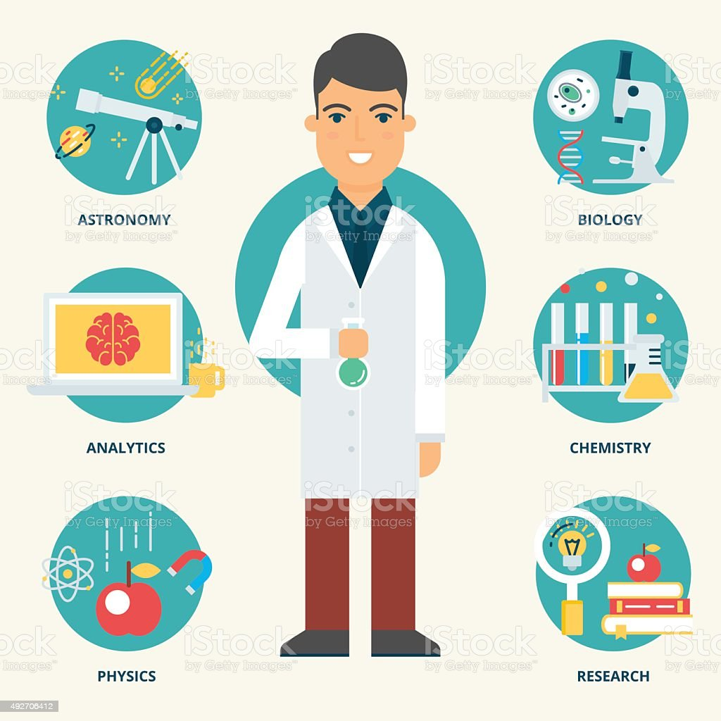 Profession: Scientist. Vector illustration, flat style vector art illustration