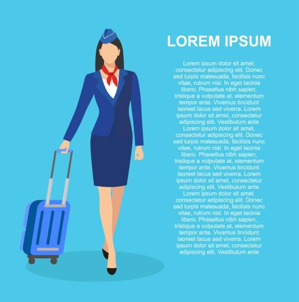 illustrazioni stock, clip art, cartoni animati e icone di tendenza di profession: stewardess. - organizzatore della festa