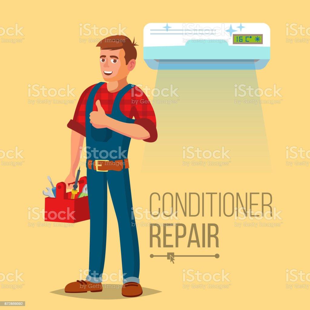Professional Air Conditioner Repair Vector. Man Electrician Installing Air Conditioner. Flat Cartoon Illustration vector art illustration