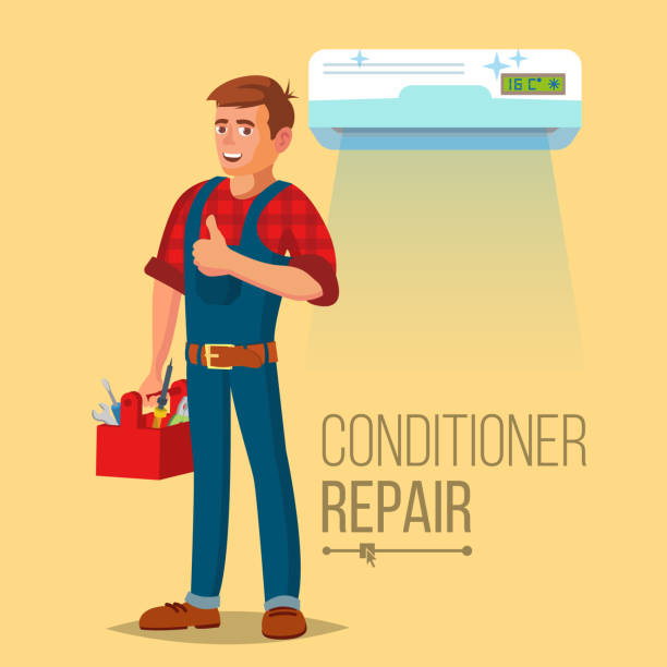 professional air conditioner repair vector. man electrician installing air conditioner. flat cartoon illustration - mechanic stock illustrations, clip art, cartoons, & icons