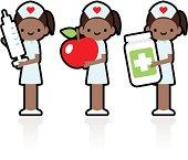 Cute Icon Set: Professional and Kindly Smiling Nurse Holding Syringe, Apple, Medicine.