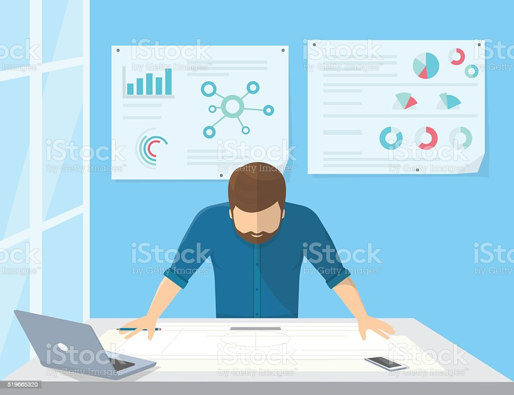 Professional architect or project manager is planning the work vector art illustration