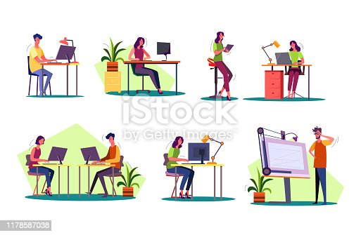 Professional at workplaces set. Man and woman working on desktop, laptop, tablet, blueprint. Business concept. Vector illustration for posters, presentations, landing pages