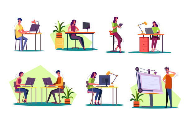 bildbanksillustrationer, clip art samt tecknat material och ikoner med professionellt på arbetsplatser - man architect computer