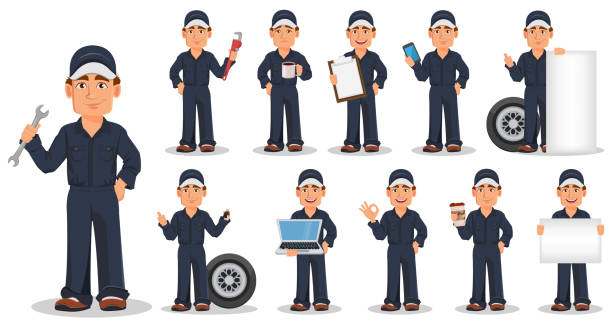 professional auto mechanic in uniform, set - mechanic stock illustrations, clip art, cartoons, & icons