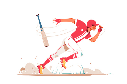 Professional baseball player running after ball