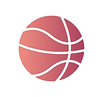Professional Basketball Gradient Color & Paper-Cut Style Icon Design
