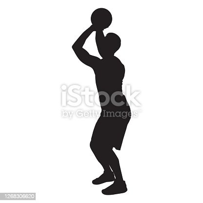 Professional basketball player silhouette shooting ball into the hoop, vector illustration