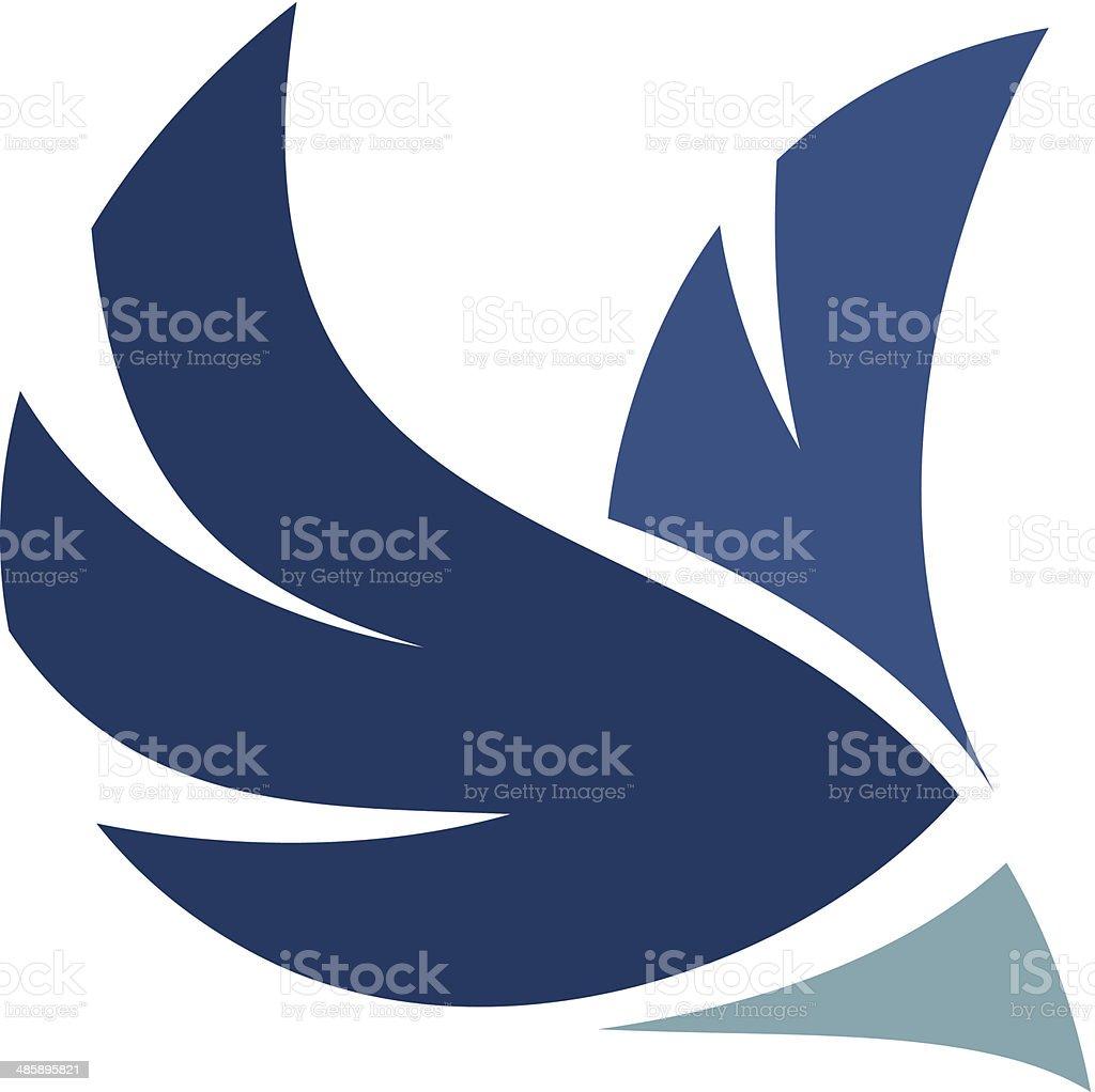 Professional bird logo flying through air mobile application icon brand royalty-free stock vector art
