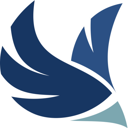 Professional bird logo flying through air mobile application icon brand