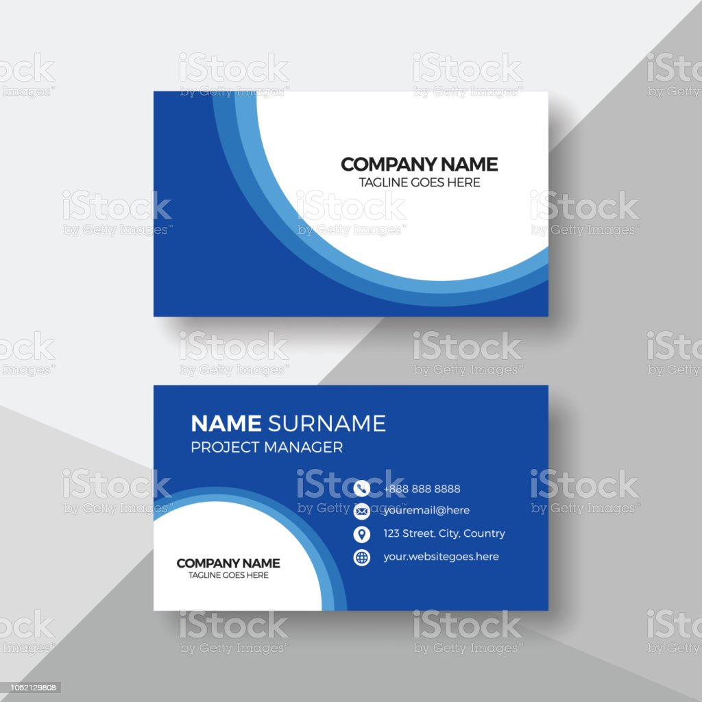 Professional Blue And White Business Card Template Stock