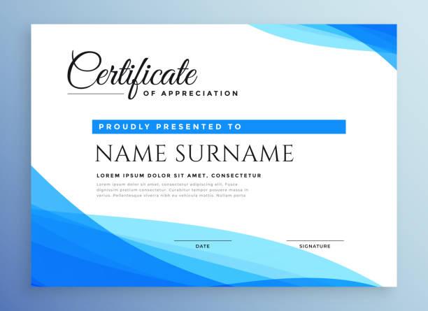 stockillustraties, clipart, cartoons en iconen met professioneel blue business certificaat ontwerp - certificaat