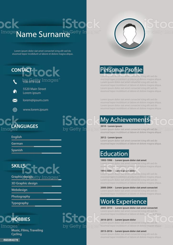 Professional Blue Gray Resume Cv With Design Elements Stock Vector