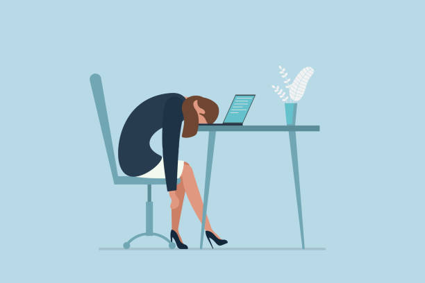 illustrazioni stock, clip art, cartoni animati e icone di tendenza di professional burnout syndrome. exhausted sick tired female manager in office sad boring sitting with head down on laptop. vector long work day illustration - noia