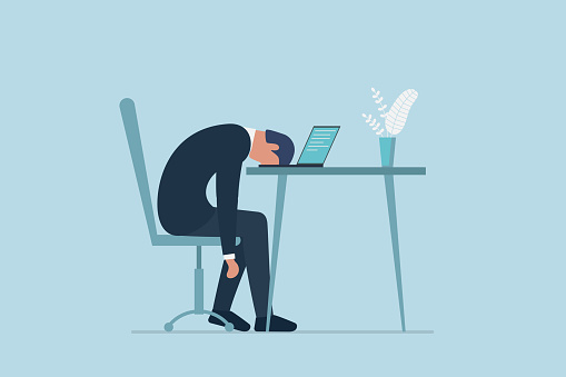 Professional burnout syndrome. Exhausted sick tired male manager in office sad boring sitting with head down on laptop. Frustrated worker mental health problems. Vector long work day illustration clipart