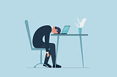 Professional burnout syndrome. Exhausted sick tired male manager in office sad boring sitting with head down on laptop. Frustrated worker mental health problems. Vector long work day eps illustration