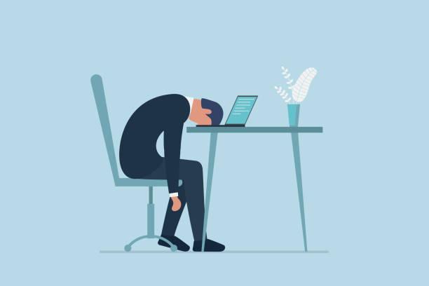 professionelles burnout-syndrom. erschöpft müde müde männliche manager im büro traurig langweilig sitzen mit dem kopf nach unten auf laptop. frustrierte psychische probleme der arbeitnehmer. vektor lange arbeitstag illustration - frustration stock-grafiken, -clipart, -cartoons und -symbole